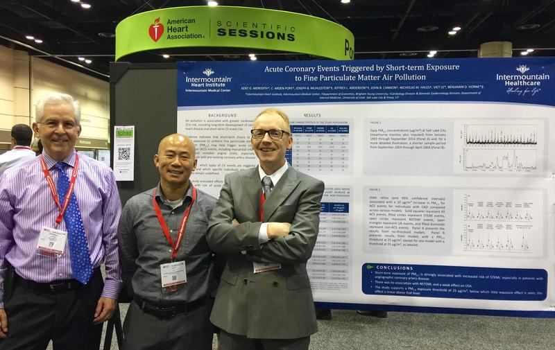 Members of the Intermountain Medical Center Heart Institute research team (Donald Lappe, Viet Lu and Kent Meredith) shared the results of their air-pollution study at the American Heart Association's 2015 Scientific Session in Orlando.