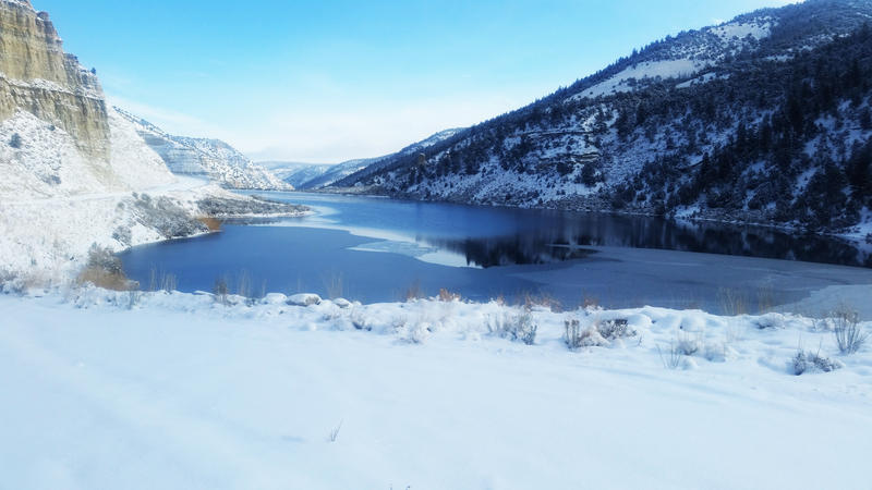 Partially frozen lakes are most dangerous in early winter and early spring according to the Utah Division of Wildlife Resources. Photo is not Mantua Reservoir. It is Draw Lake in Duchesne County on Nov. 28th, 2015.