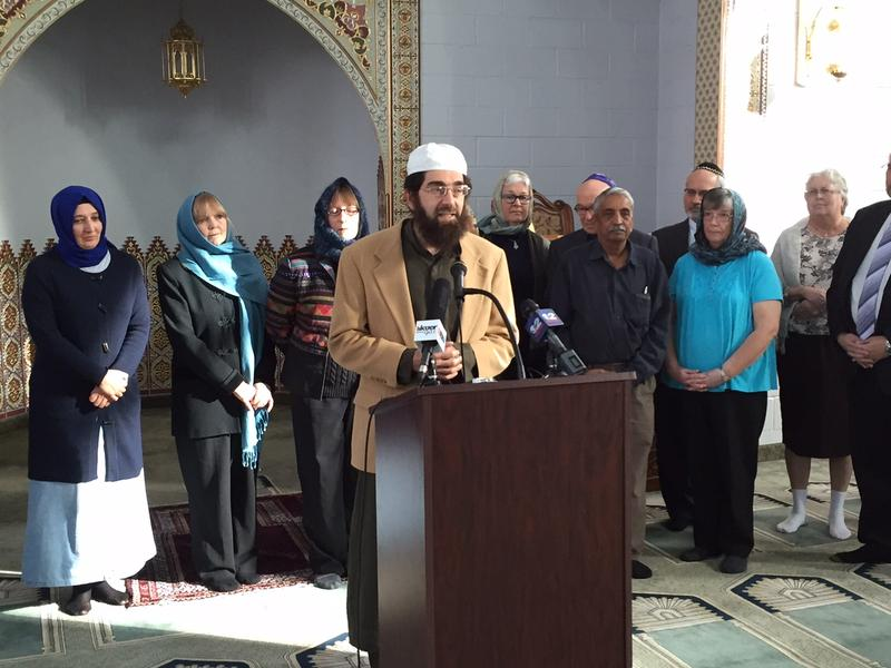 Imam Muhammed Mehtar speaks as part of a group of interfaith leaders at the Khadeeja mosque in West Valley City.