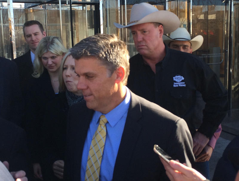 San Juan County Commissioner Phil Lyman exits the court after being sentenced on Friday.