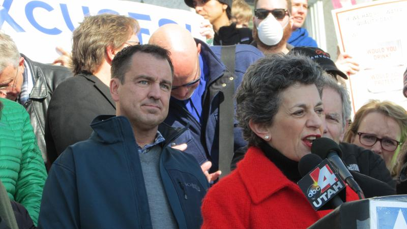 House Speaker Greg Hughes flanks Rep. Patrice Arent, D-Millcreek, during last year's clean air rally at the Capitol. Public pressure has pushed air quality to the top of the political agenda in Utah.
