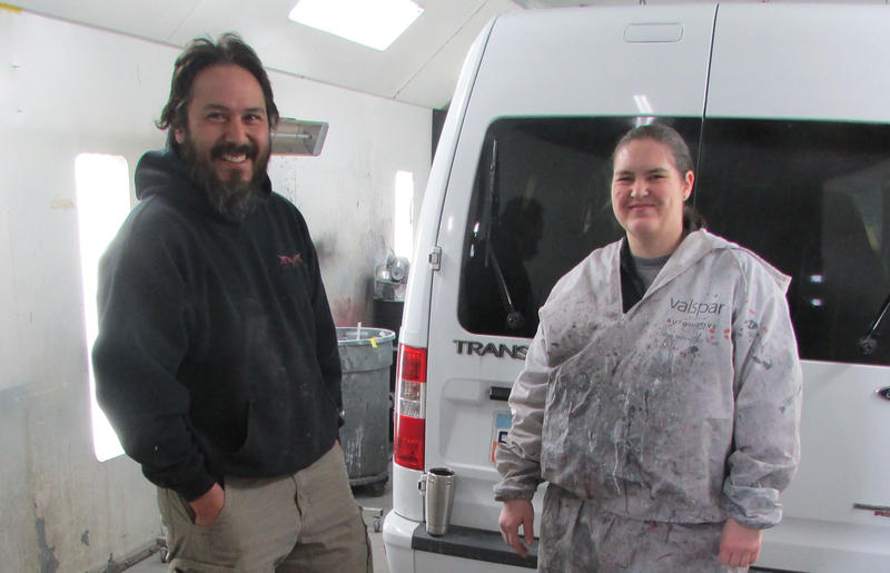 "Anthony Gallegos, who manages ACS Precision Auto Body, and painter Cory Kaggie have updated their tools to include a low-emission dryer and paints. Cutting pollution from homes and businesses is key to reducing ""area sources"" of winter smog."