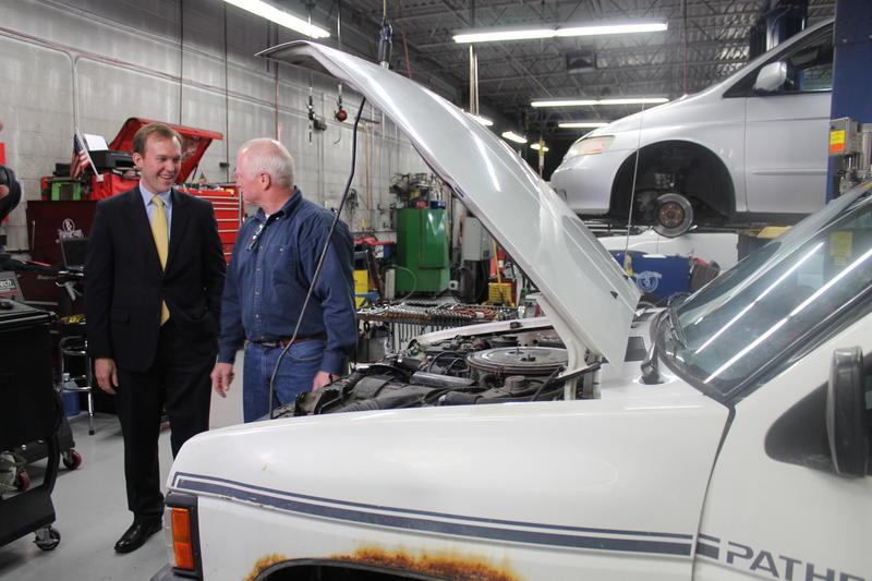 Salt Lake County Mayor Ben McAdams with Jerry Lambert, owner of Jerry Lambert's Automotive.