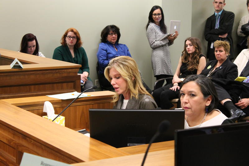 Carrie Snyder (left) testifies to the House Health and Human Services Committee in favor of HB264 as sponsor Rep. Rebecca Chavez-Houck (D-Salt Lake City) listens.