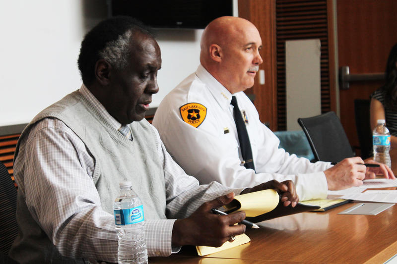 Salt Lake City Police Chief Mike Brown with Dr. David Parker, chair of the Salt Lake City Police Department Citizens Advisory Board.