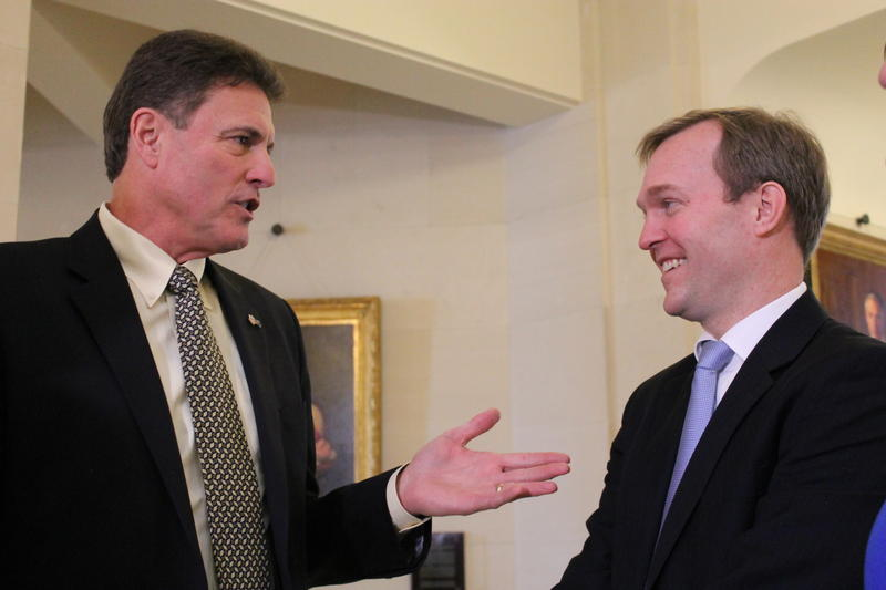 Utah House Majority Leader Jim Dunnigan and Salt Lake County Mayor Ben McAdams at the Utah State Capitol. (March 1, 2016)