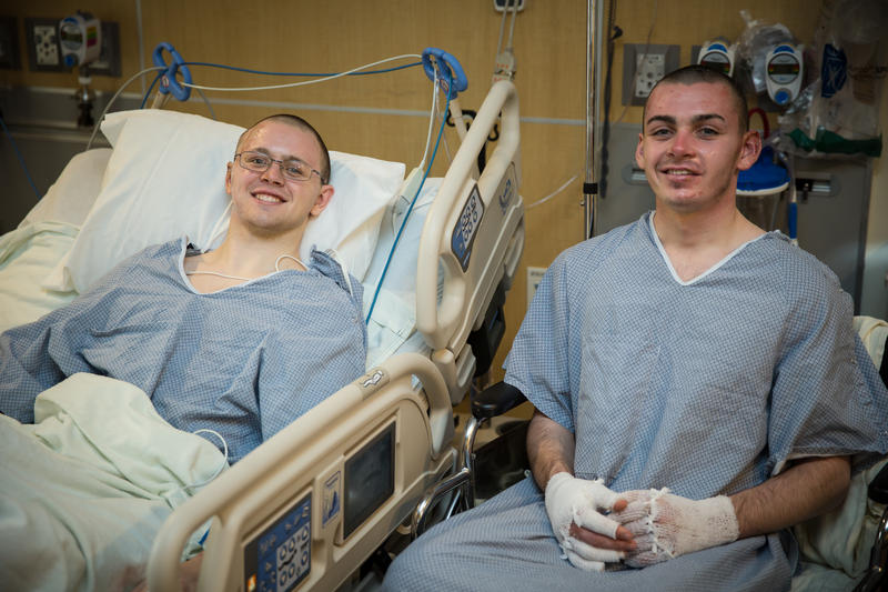 Mason Wells and Joseph Empey reunite for the first time since the bombing at University of Utah Hospital