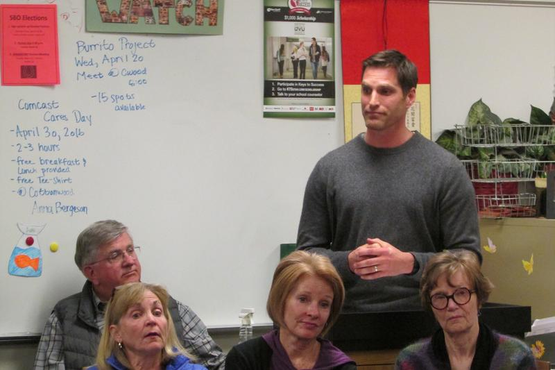 Josh Romney argues his case for backing Texas Senator Ted Cruz in a Holladay caucus.
