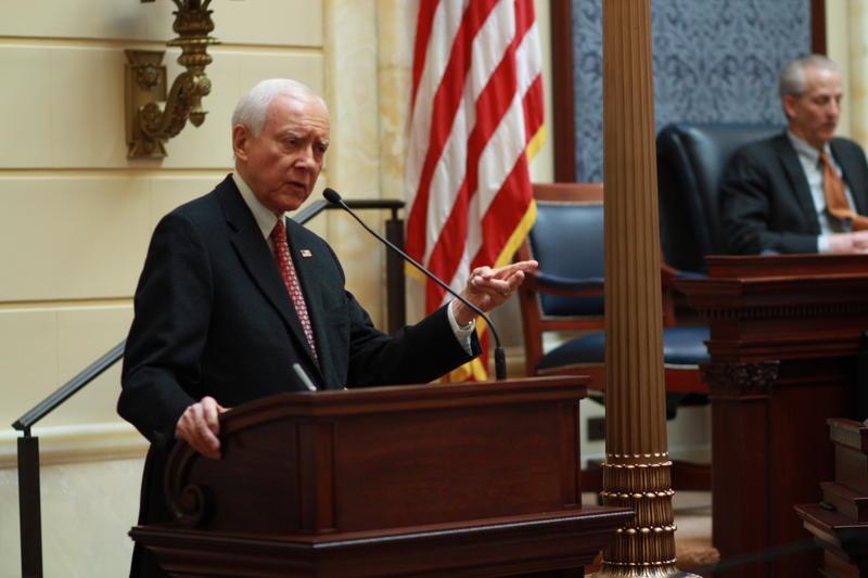 File: Sen. Orrian Hatch, R-Utah, speaks to the Utah Legislature