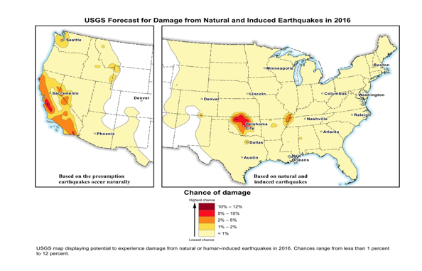 The U.S. Geological Survey maps of human-induced earthquakes is first of its kind. It was requested by industry, government and researchers, USGS seismologists said.