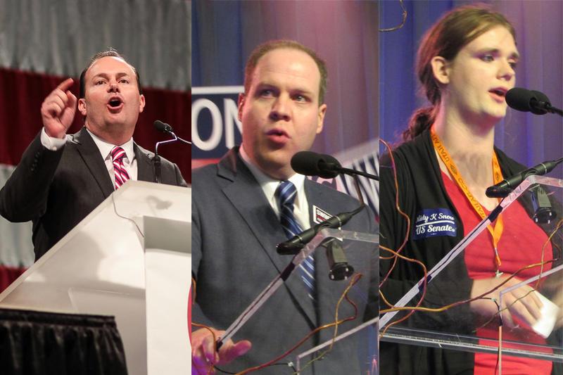 Sen. Mike Lee, R-Utah, Democratic Senate Candidate Jonathan Swinton, and Democratic Senate Candidate Misty Snow