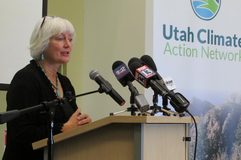 Susan Soleil, director of Utah Interfaith Power and Light, at Wednesday's announcement.
