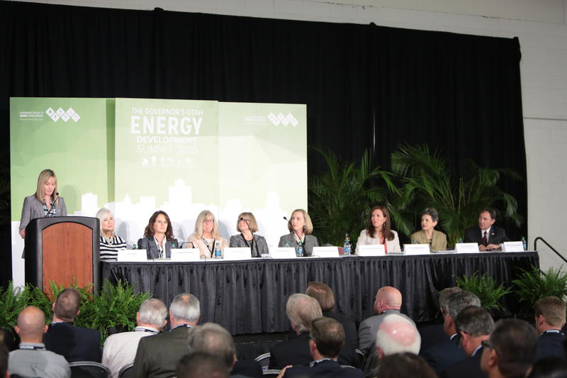Laura Nelson, at the lectern, director of the Office of Energy Development, now has a new role as Energy Advisor to the governor.
