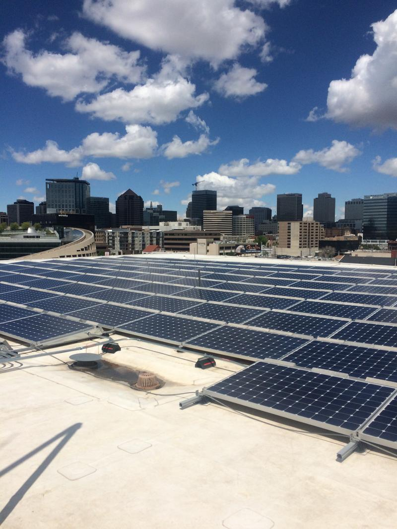Solar panels on the roof of the Salt Lake City Public Safety Building.