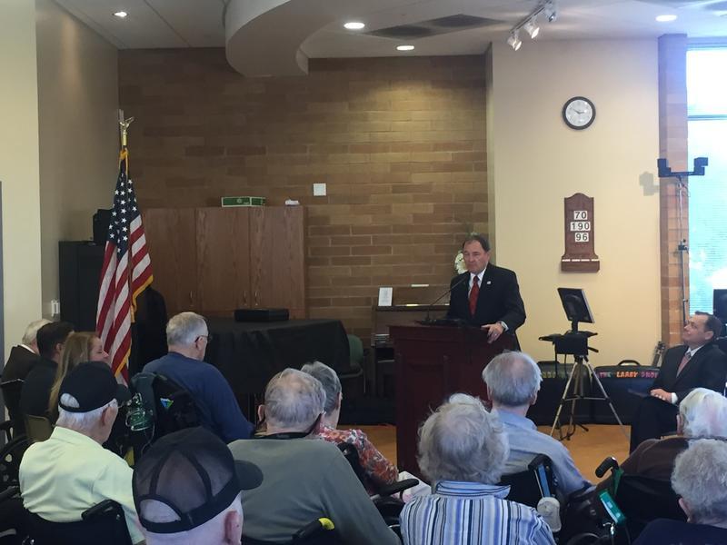 Gov. Gary Herbert addresses veterans and their families at the William E. Christoffersen Salt Lake Veterans Home. (May 30, 2016)