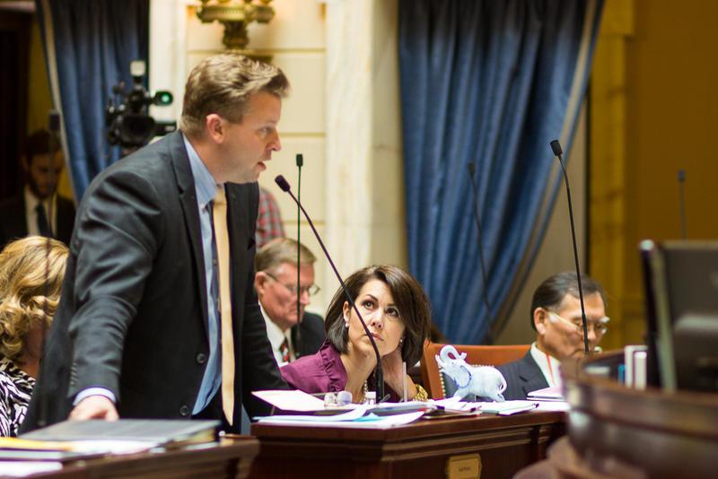 Sen. Todd Weiler, R - Woods Cross, speaks on the Senate Floor