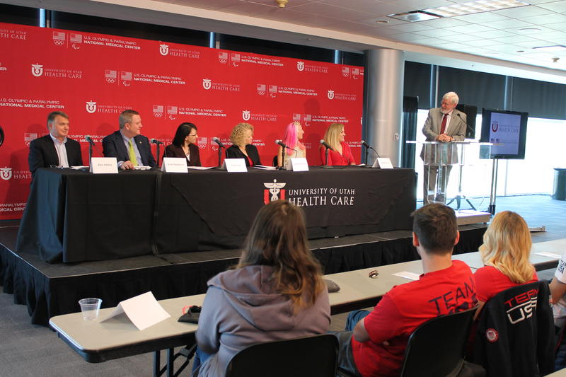 University of Utah President David Pershing introduces a panel of US Olympic Committee officials, local leaders and Olympic athletes.