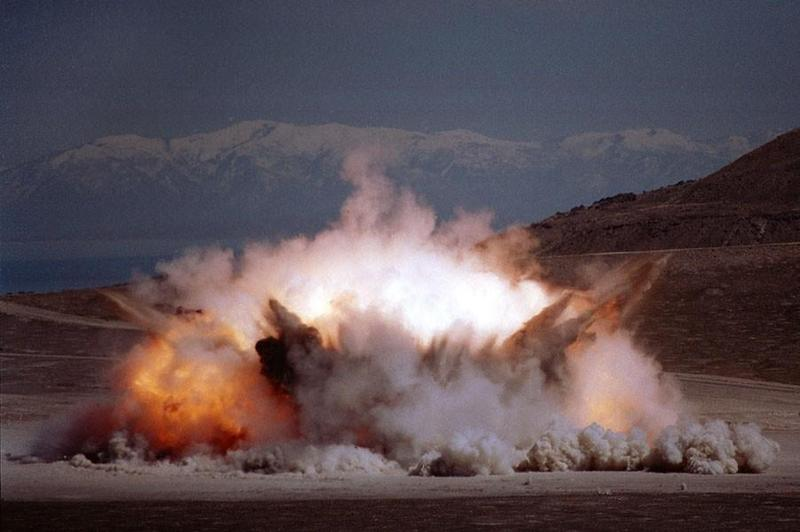 A Trident II rocket motor is destroyed at the Utah Test and Training Range.