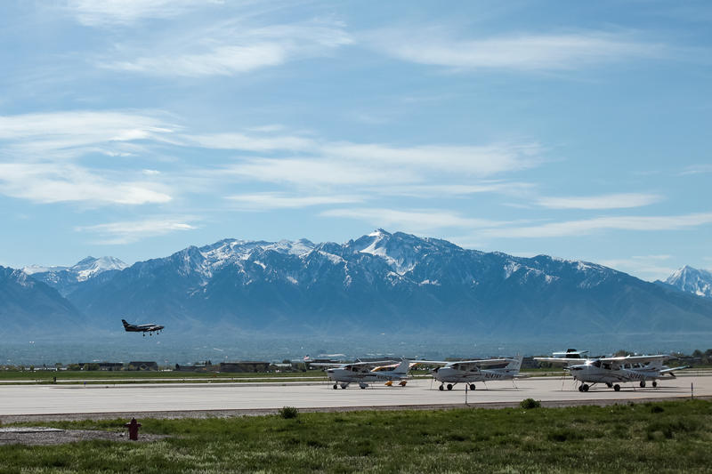 An airplane takes off at South Valley Regional Airport