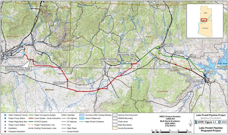 A map of the proposed Lake Powell Pipeline. A license application for the project was submitted to the Federal Energy Regulatory Commission last week.