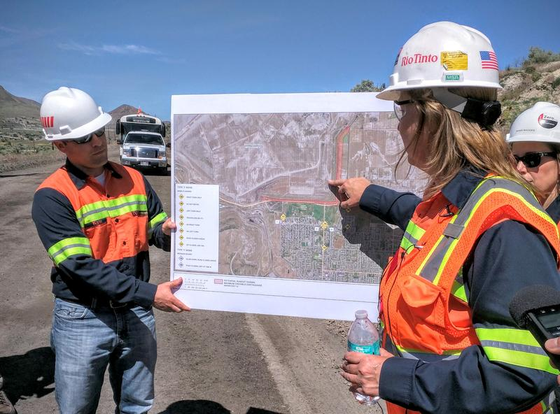Rio Tinto Kennecott Tailings Manager, Paula Daughty, points out the potential impact a major earthquake would have on their tailings pile.