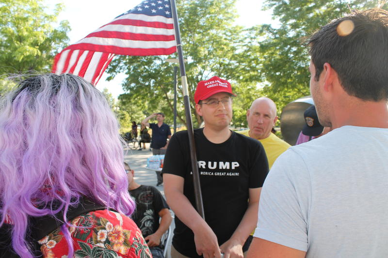 Tyler J. A trump supporter is talking to activists in the Black Lives Matter movement.