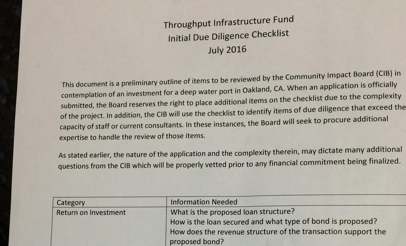 A preliminary draft of the due-diligence checklist being composed by the Community Impact Board. They want to make sure any money for the Oakland, Calif., port is wisely invested.