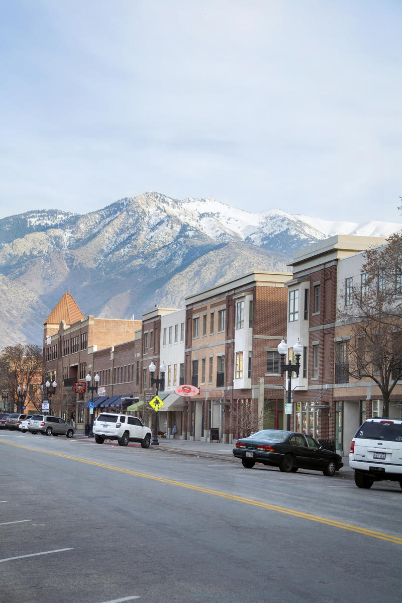 Ogden, Ut, USA-December 9, 2014: Downtown 25th street during the winter time with mountain backgdrop