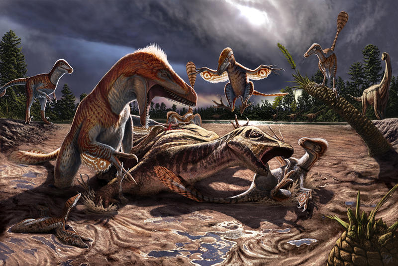 Utahraptor Ridge site reconstruction and illustration by Paleoartist Julius Csotonyi