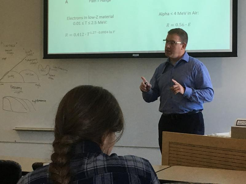 Peter Jenkins teaches an undergraduate class of students about the physics of the radioactive particles used in medicine. He's fighting for the inclusion of medical expertise on the Utah Radiation Control and Waste Board.