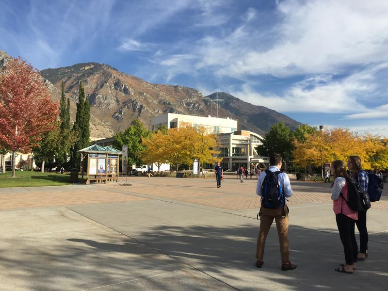 Students socialize in between classes at Brigham Young University in Provo. Some students say they know the election is important, but aren't yet comfortable saying who they'll be voting for in this year's presidential race.