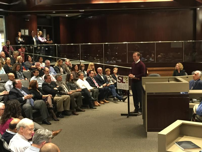 County Mayor Ben McAdams speaking about his proposed 2017 budget on Tuesday, Oct. 25.