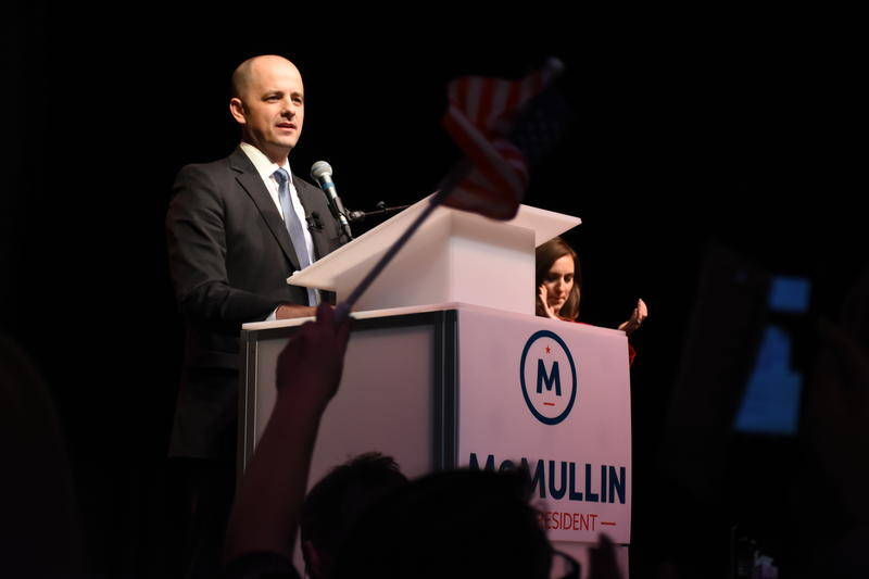 Evan McMullin gives his concession speech at The Depot in Salt Lake on Nov. 8, 2016.