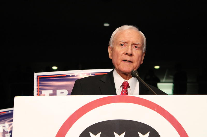 Senator Orrin Hatch speaks to a very energetic crowd at Utah's GOP victory party on Tuesday night.