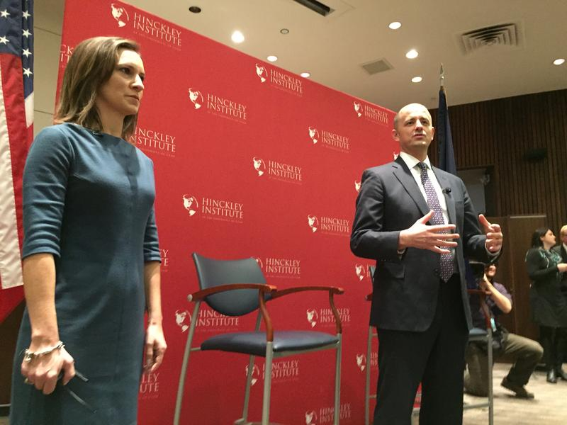 Independent presidential candidate Evan McMullin introduces his running mate, Mindy Finn, during a forum at the University of Utah's Hinckley Institute on Nov. 2.
