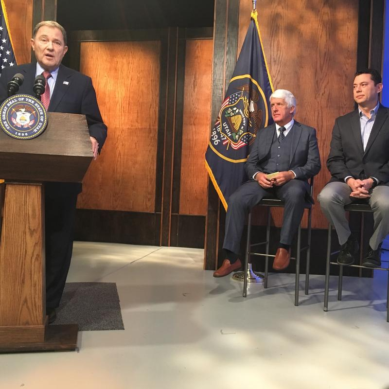 "Earlier this month, Gov. Gary Herbert (left) and Congressman Rob Bishop (center) criticized what were then rumors about what they called a ""midnight monument."""