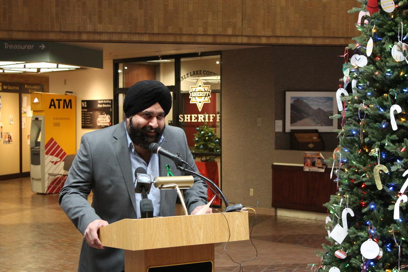 Pritpal Singh, representing the Sikh community of Salt Lake, speaks during a press conference Tuesday.