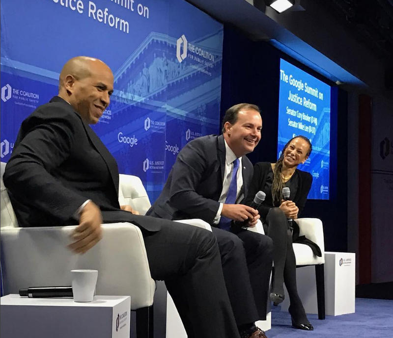 Sen. Cory Booker, D-N.J., and Sen. Mike Lee, R-Utah, talk criminal justice reform during a forum hosted by Google on Dec. 1 in Washington, D.C.
