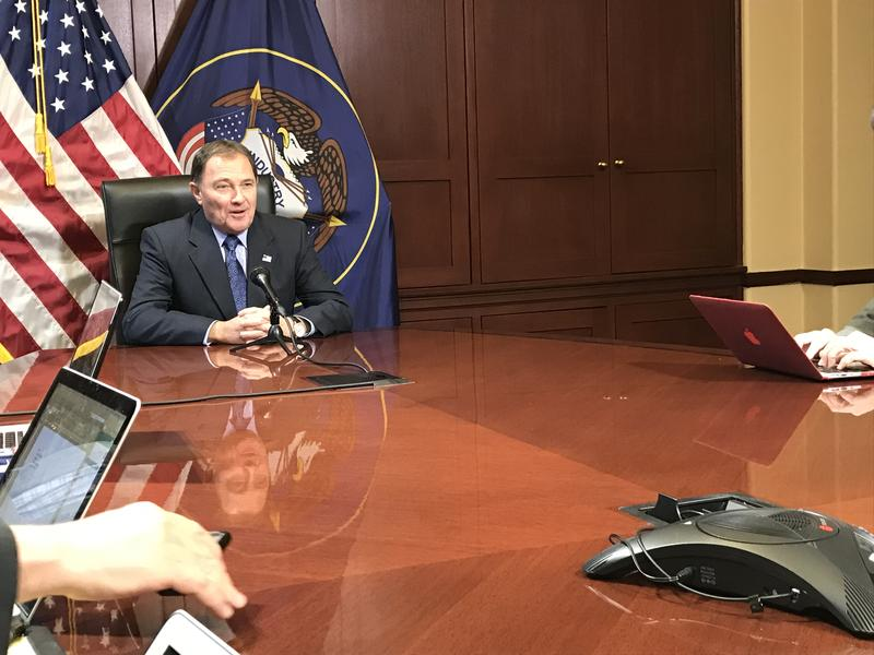Gov. Gary Herbert discusses the first week of the legislative session with reporters on Friday.