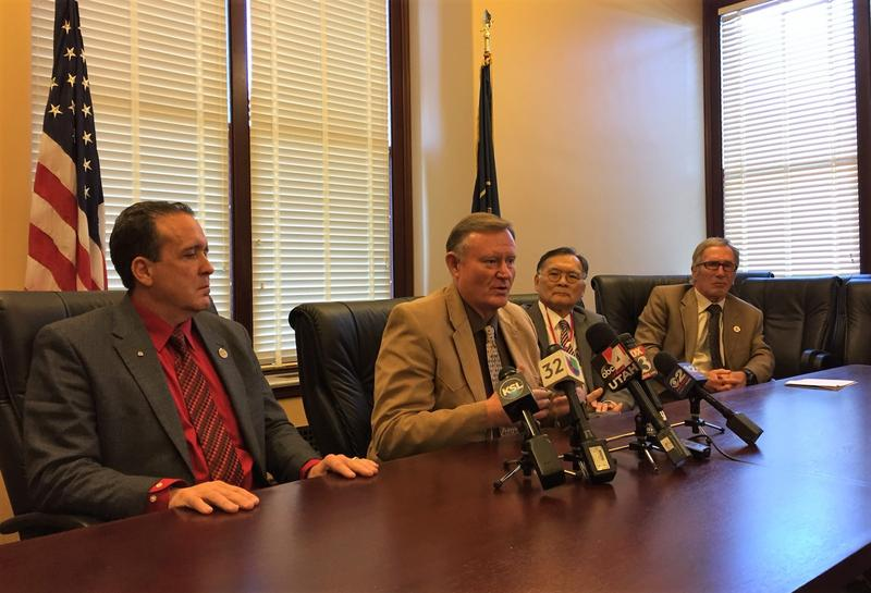 Representative Brad Daw, Senators Evan Vickers and Brian Shiozawa, and Representative Gage Froerer discussed marijuana legislation at the Utah State Capitol.