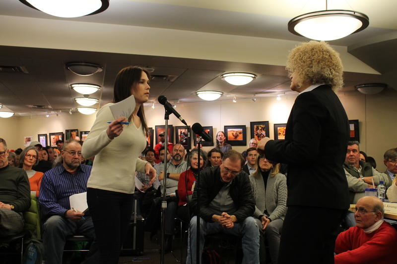 Mayor Jackie Biskupski takes questions at the Sugar House Community Council meeting on Wednesday.