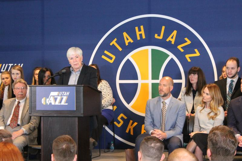 Utah Jazz owner Gail Miller speaks at a press conference held Monday afternoon at Vivint Smart Home Arena.