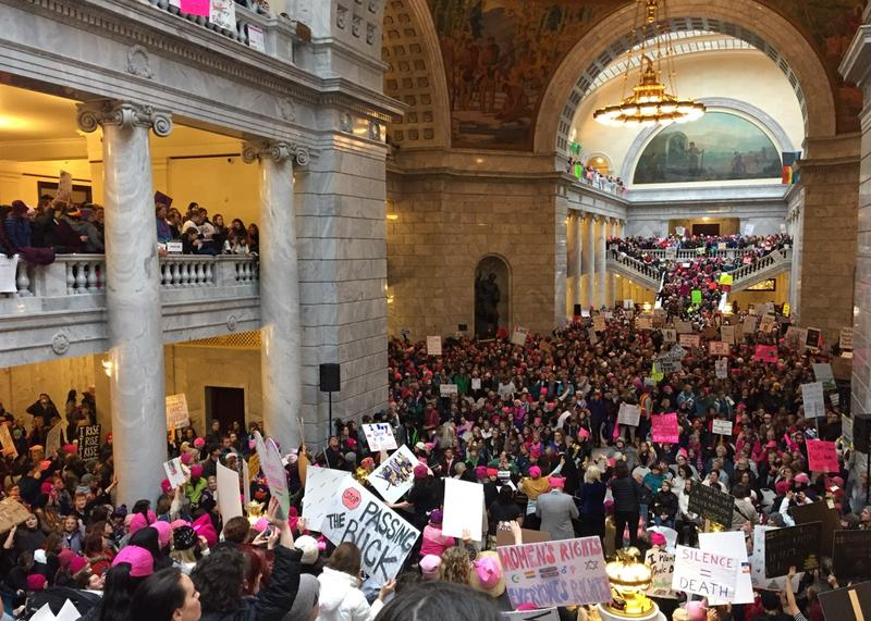 Protesters chanted and gave speeches inside the Utah Capitol building on the first day of the state legislative session.