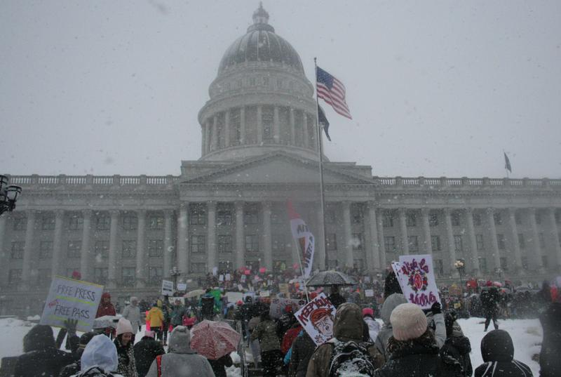 Protesters walked to the Utah Capitol building.