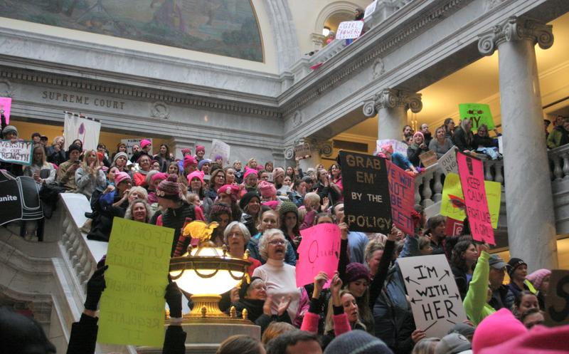 Protesters chanted and gave speeches inside the Capitol building.
