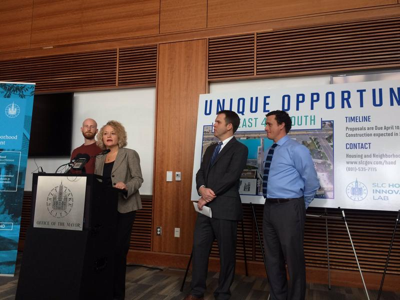 SLC Mayor Jacki Biskupski announces a request for proposals for a mixed-income housing project at 320 East 400 South. She says these projects are central to their plan to reduce homelessness in the city.