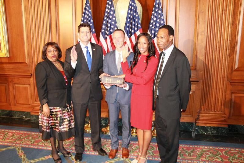 Rep. Mia Love, R-Utah, is sworn in for the 115th Congress. Although the only woman in Utah's congressional delegation, Utah stands at 16 percent for female representation in Congress, compared to 19 percent nationally.