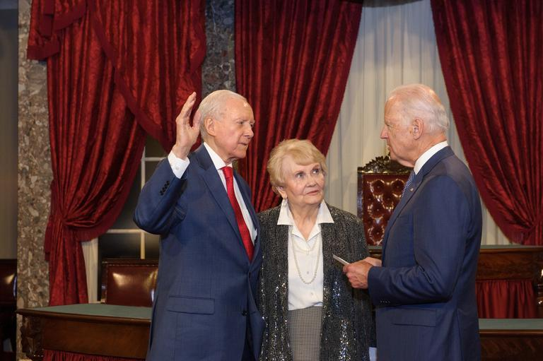 Sen. Orrin Hatch is sworn in as President Pro Tempore of the United States Senate in 2015 by Vice President Joe Biden. Hatch has said he may run for an eighth term in 2018.
