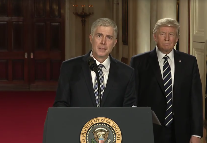 U.S. Circuit Court Judge Neil Gorsuch speaks at the White House Tuesday night after President Trump introduced him as his pick to fill the vacancy on the Supreme Court.