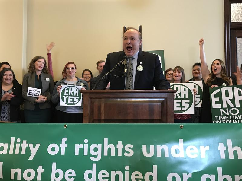 Democratic Sen.  Jim Dabakis speaks at a press conference to promote a resolution that would ratify the Equal Rights Amendment, which guarantees equal protection under the law regardless of sex.